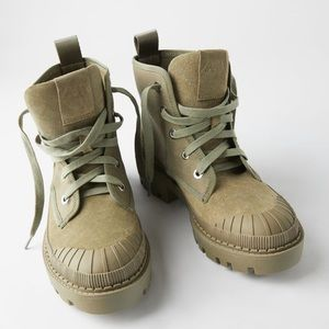 ZARA BNWT Flat Canvas Ankle Boots